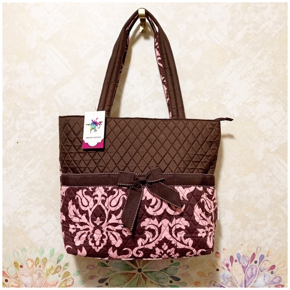 mélange posh Handbags - Large Quilted Pink/Brown 3 pc. Diaper Bag
